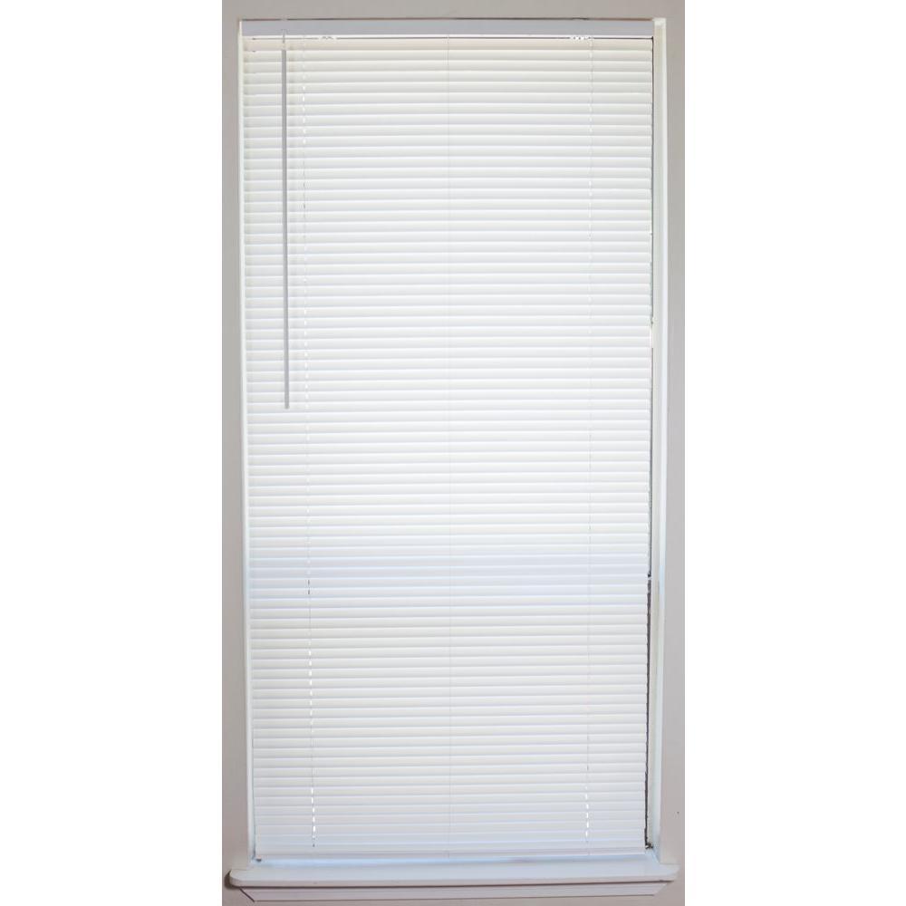 home depot mini blinds White Cordless 1 in. Vinyl Mini Blind   23 in. W x 64 in. L  home depot mini blinds