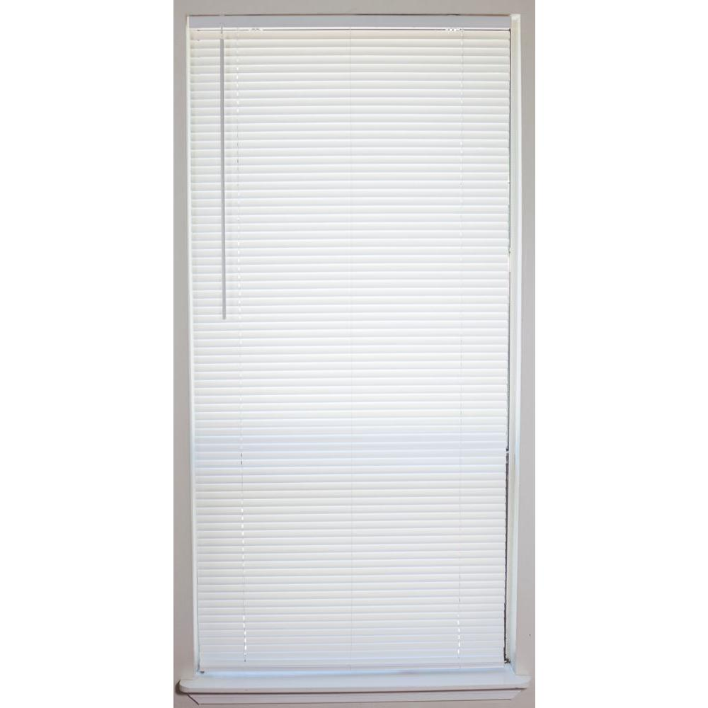 white cordless 1 in vinyl mini blind 29 in w x 64 in l 201504003 the home depot. Black Bedroom Furniture Sets. Home Design Ideas