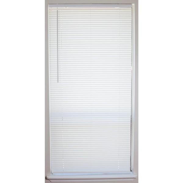 White Cordless 1 in. Vinyl Mini Blind - 33 in. W x 64 in. L