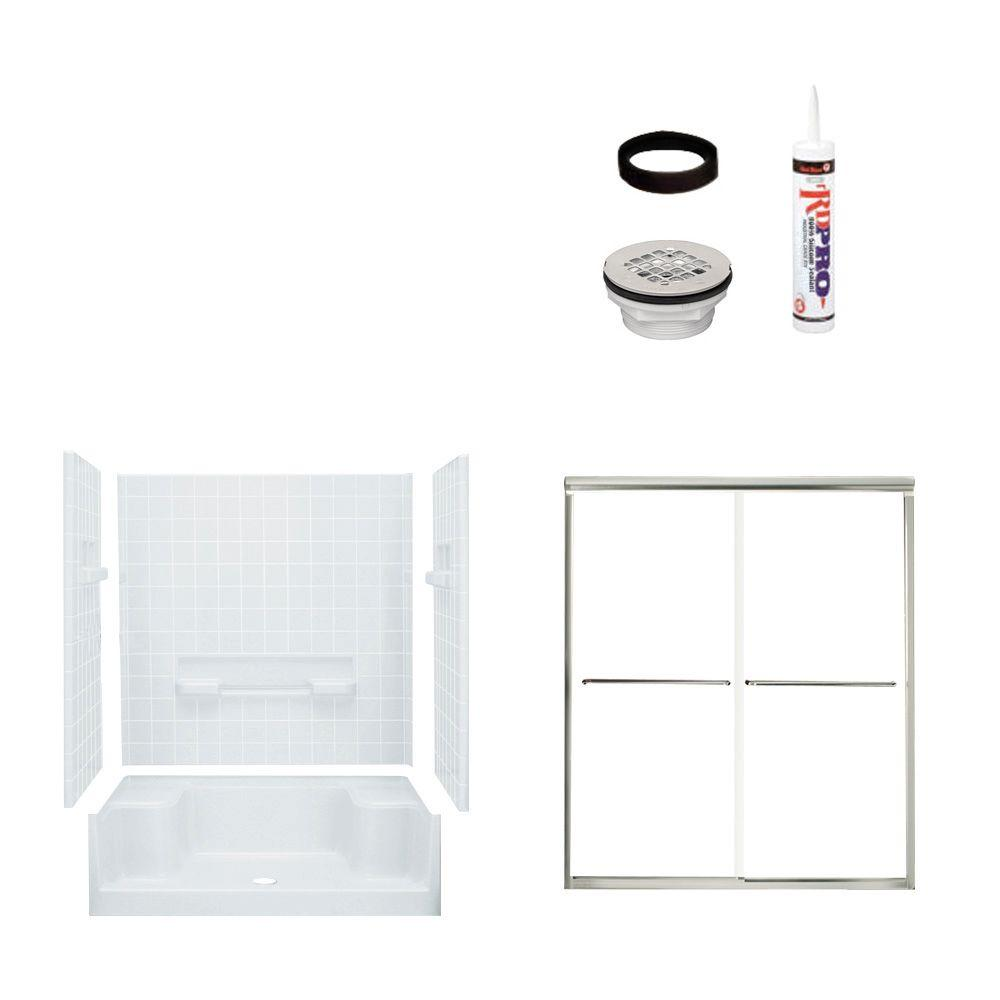 STERLING Advantage 34 in. x 60 in. x 76 in. Shower Kit with Shower Door in White/Chrome-DISCONTINUED