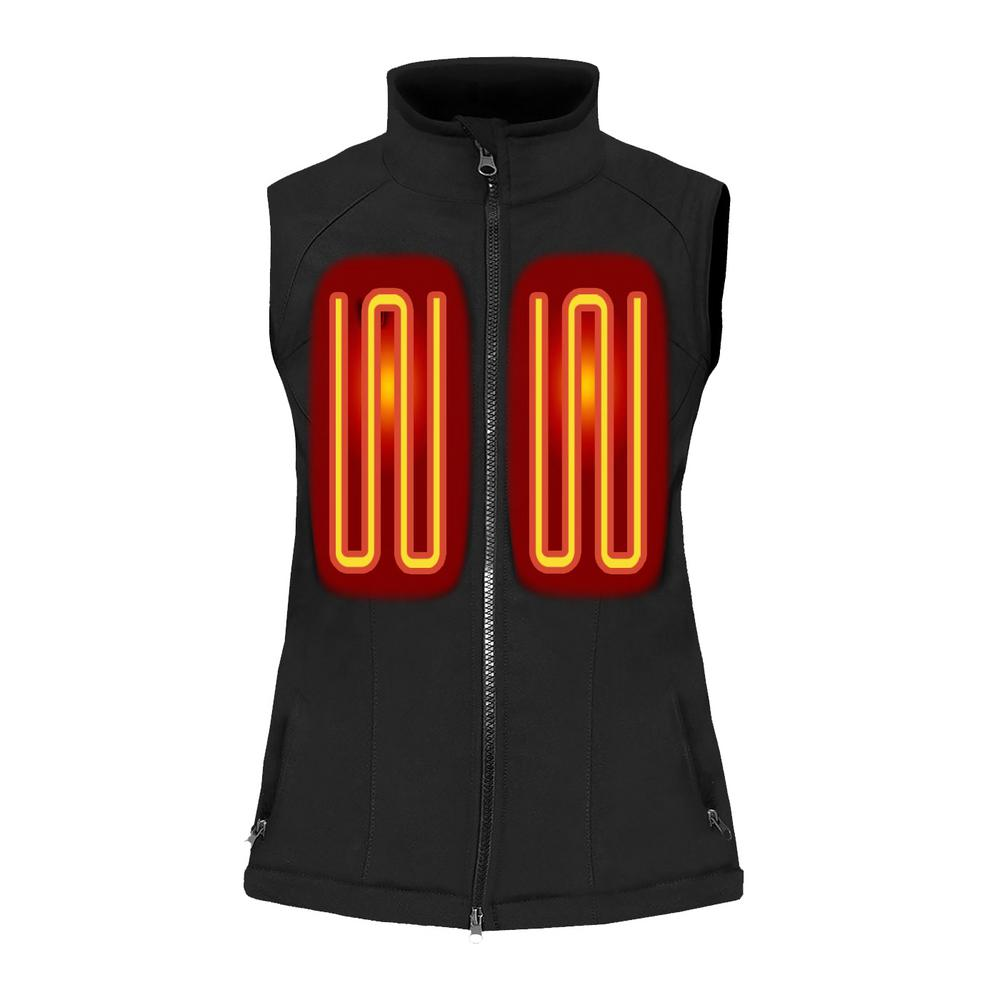 Womens Heated Clothing >> Actionheat Women S Small Black Softshell 5v Battery Heated Vest Ah
