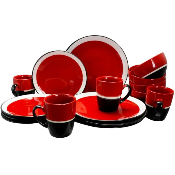 Gibson Eclipse 16 Piece Red Stoneware Dinnerware Set 98599938M