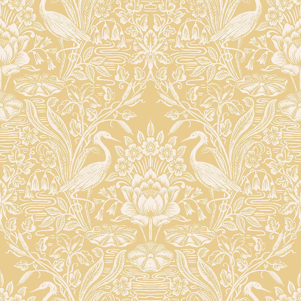 Brewster 56 4 Sq Ft Elegans Mustard Crane Toile Wallpaper 2766