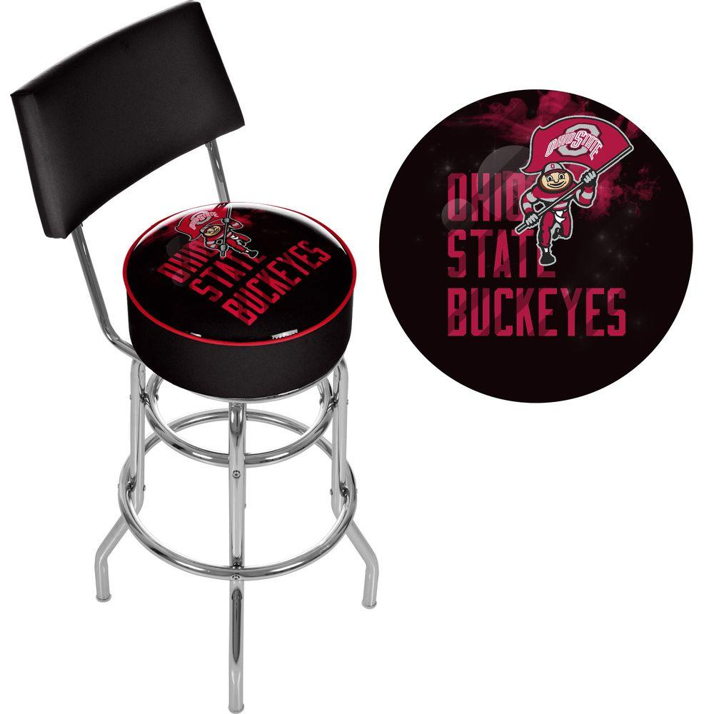 Trademark Ohio State Smoking Brutus 31 in. Chrome Padded Swivel Bar Stool, Black Show off your team spirit with this decked out Trademark Ohio State Smoking Brutus Bar Stool. This stool features a vinyl seat, which has a similar look to leather yet is particularly easy to clean. It has a metal frame, so it can tolerate frequent use. Featuring a modern style, it is great for contemporary kitchen counters. This bar stool has a low back, which easily slides completely under the counter. It has a swivel design, making it easy to get in and out without needing to slide the stool back. It has a foot rest to maximize your comfort while sitting. Designed with an Ohio State University logo, this stool is a good choice for sports fanatics. Color: Black.