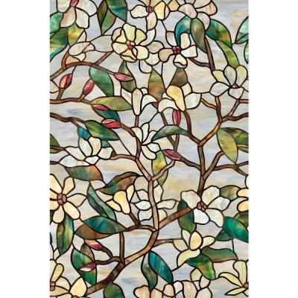 24 in. x 36 in. Summer Magnolia Decorative Window Film