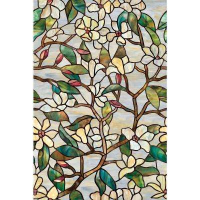 24 in. x 36 in. Summer Magnolia Decorative Window Film