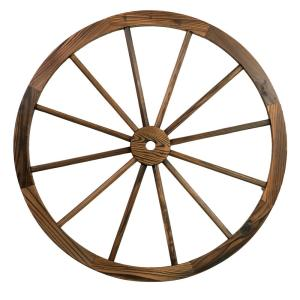 Patio Premier 24 In Wooden Wagon Wheel In Rustic 442007 The Home Depot