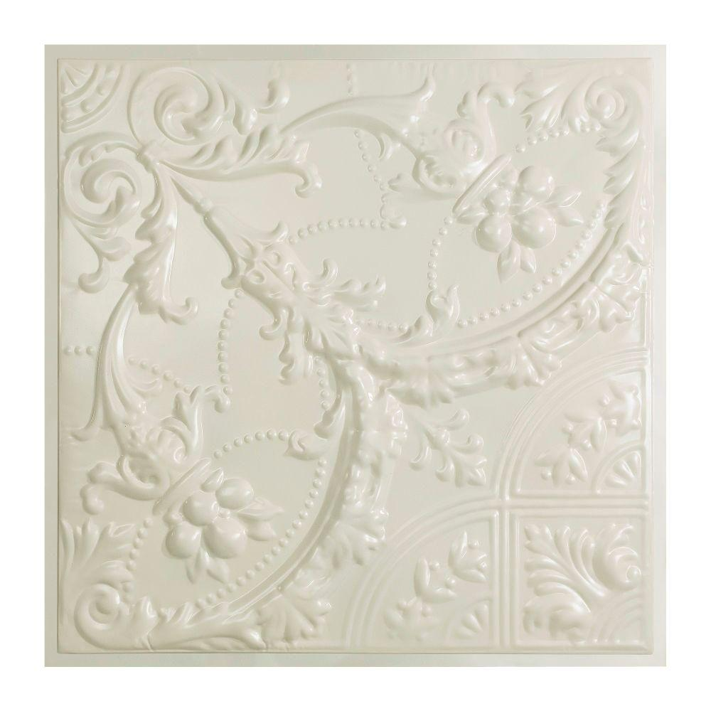 Great Lakes Tin Saginaw 2 ft. x 2 ft. Lay-in Tin Ceiling Tile in Antique White