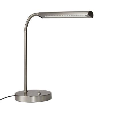14.7 in. Satin Indoor LED Gooseneck Table Lamp