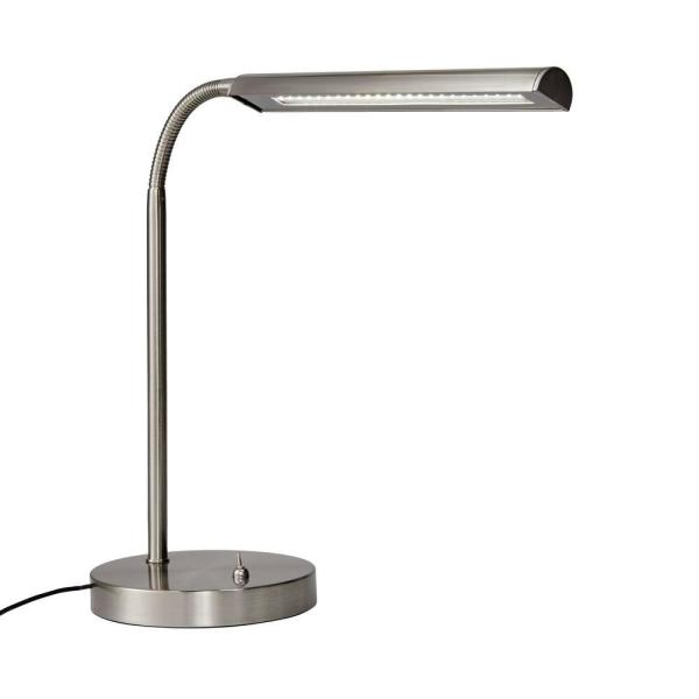 14.7 in. Satin Indoor LED Gooseneck Table Lamp