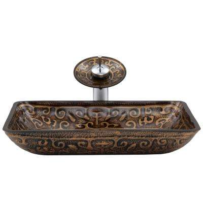 Rectangular Glass Vessel Sink in Golden Greek with Waterfall Faucet Set in Chrome