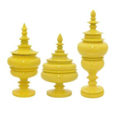 8 in. Yellow Jars with Lid (Set of 3)