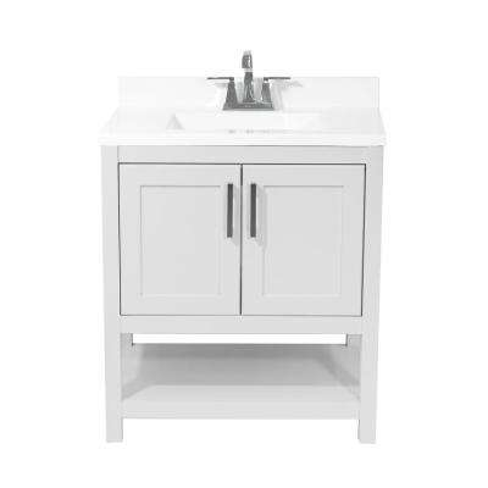 Tufino 31 in. Bath Vanity in White with Cultured Marble Vanity Top w/ Backsplash in White with White Basin