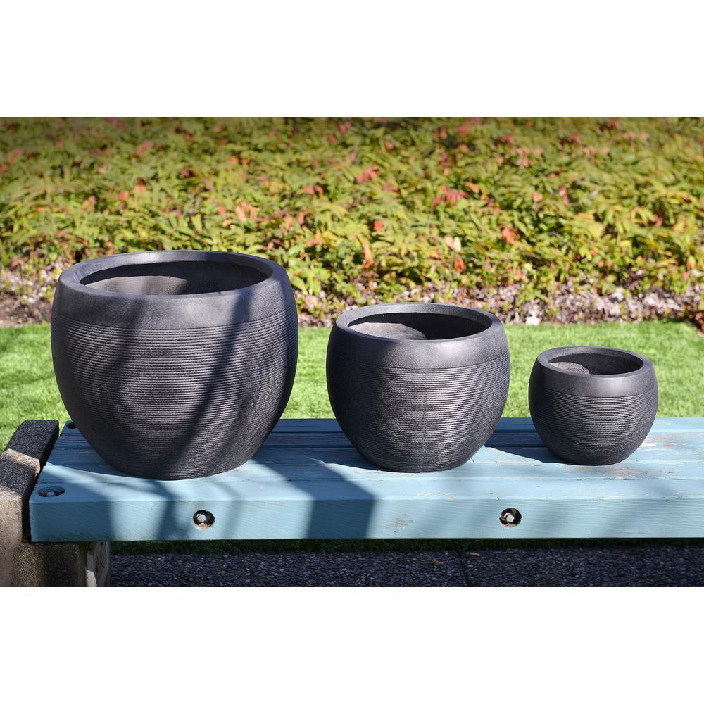 20 in. Clay Modern Zen Fiber Round Planter (Set of 3)