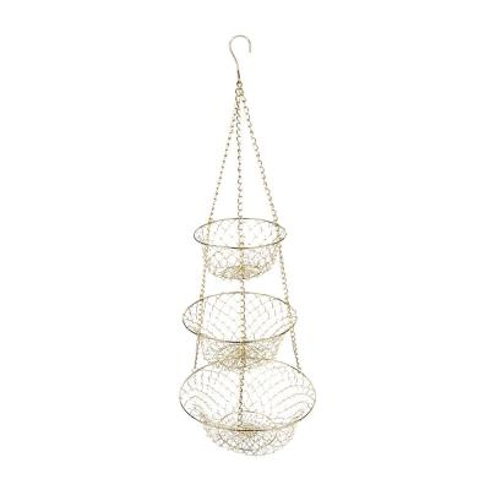 Gold 3-Tier Hanging Fruit Basket
