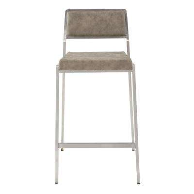 Amani 26 in. Counter Stool in Retro Taupe Fabric with Stainless Steel Base (2-Pack)