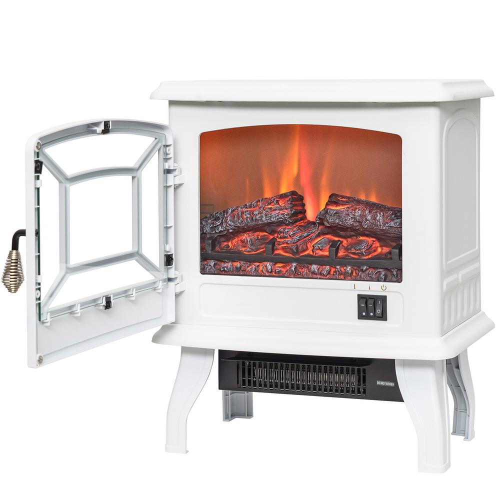 AKDY 17 in Freestanding Electric Fireplace in White