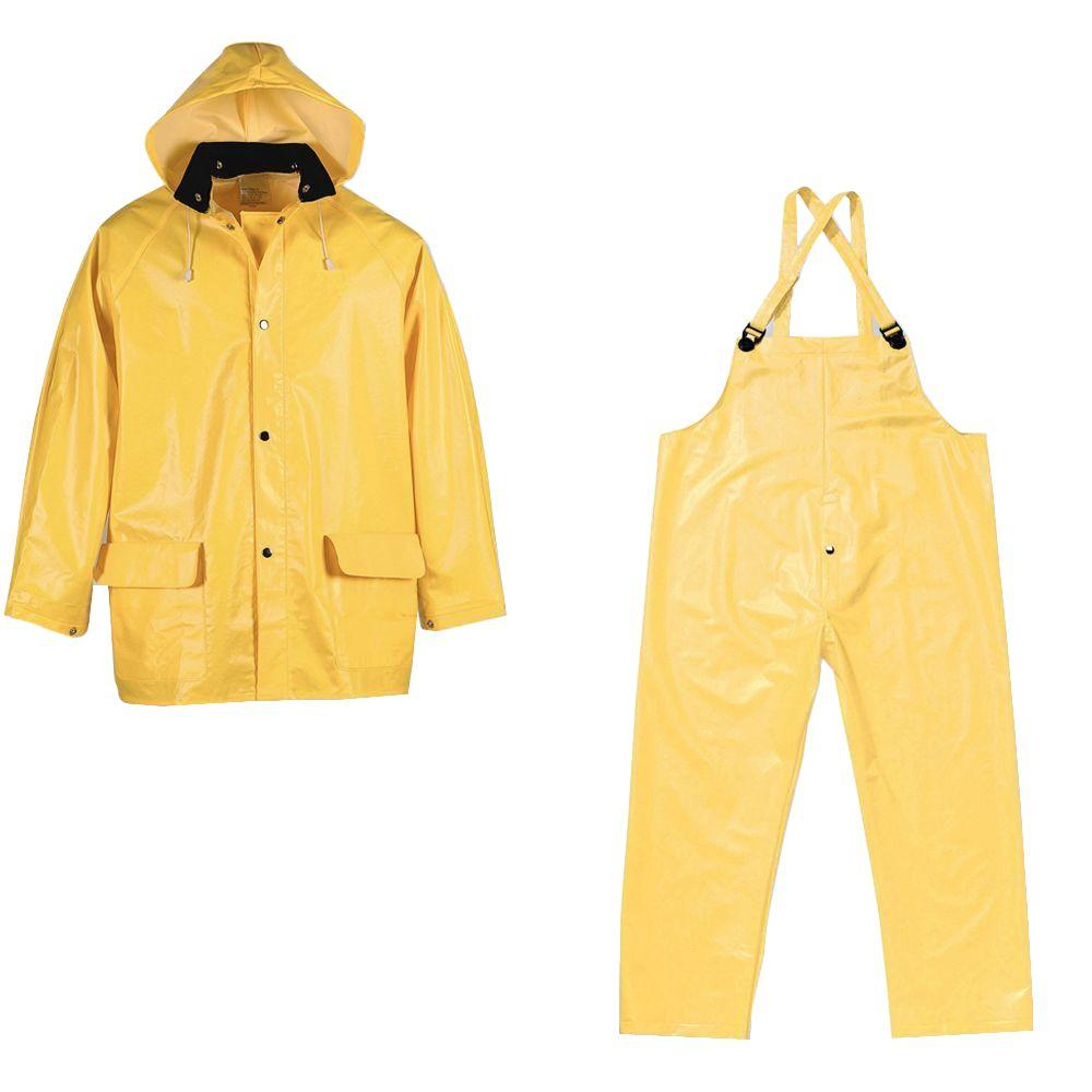 Large Yellow PVC Supported Industrial Rain Suit (3-Piece)