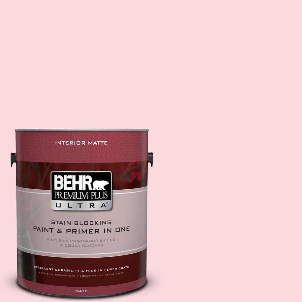 BEHR Premium Plus Ultra 1 gal. #130C-1 Powdered Blush Flat/Matte Interior Paint and Primer in One