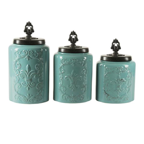 American Atelier 3-Piece Blue Antique Earthenware Canister Set with Lid