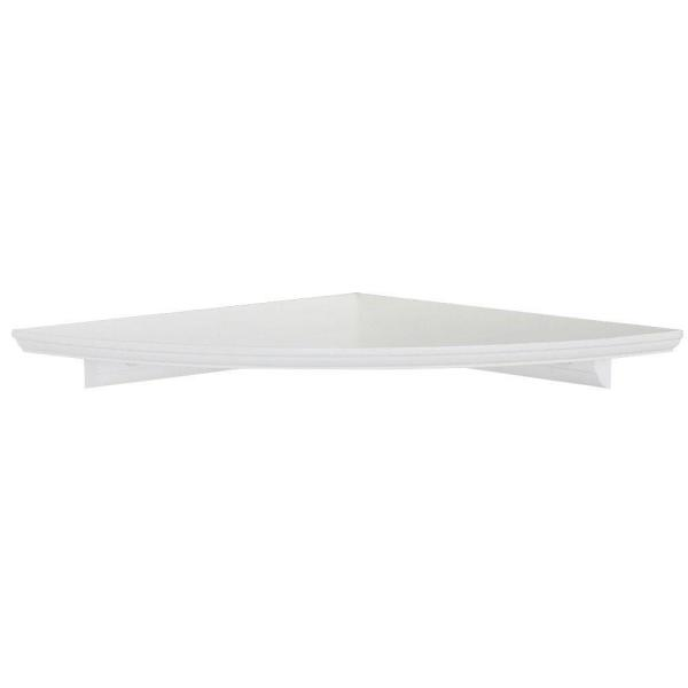 12 in. W White Floating MDF Corner Shelf