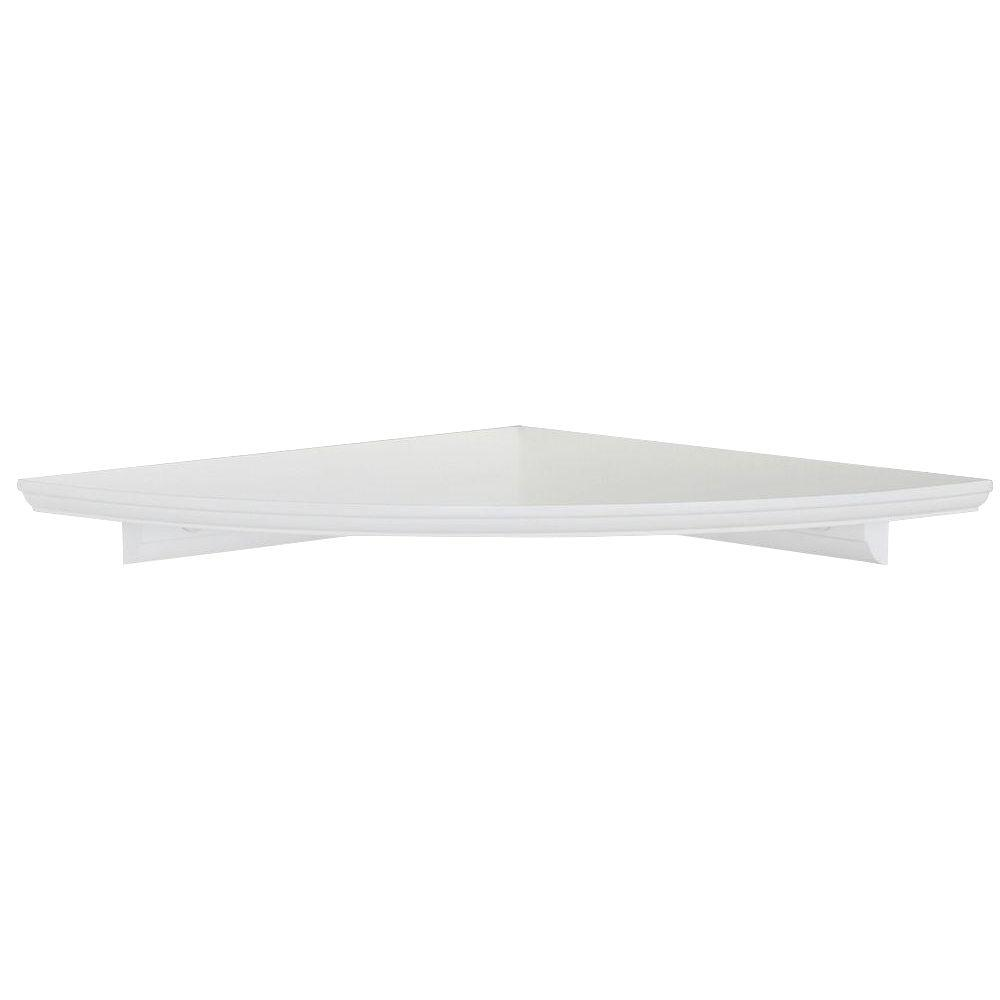12 in w white floating mdf corner shelf hdrcc12w the home depot. Black Bedroom Furniture Sets. Home Design Ideas