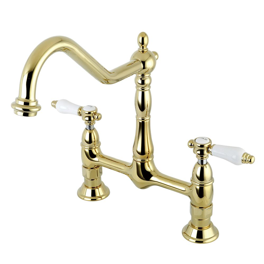 Kingston Brass Victorian Porcelain 2-Handle Bridge Kitchen Faucet ...