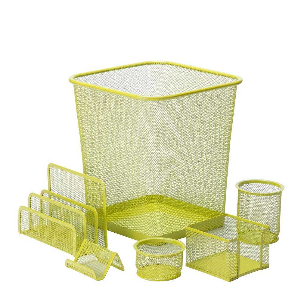 Honey-Can-Do 6-Piece Steel Mesh Desk Set in Lime