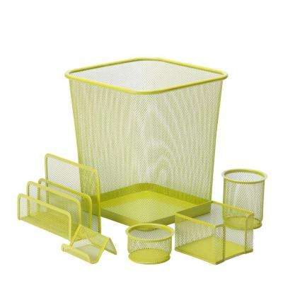 6-Piece Steel Mesh Desk Set in Lime