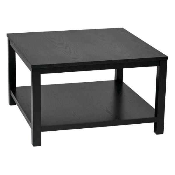 Office Star Products Merge 30 In Black Square Coffee Table