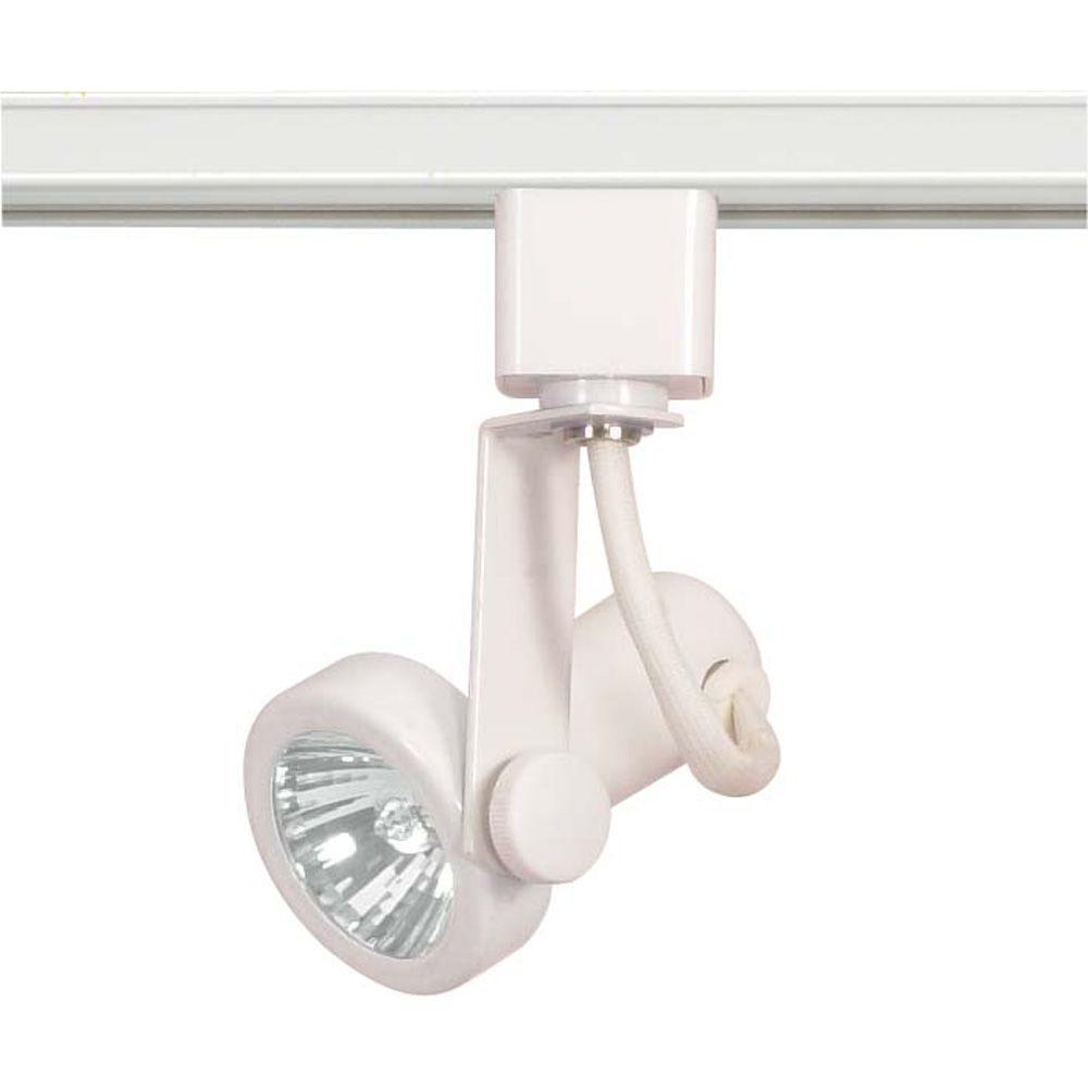 1-Light MR16 120-Volt White Gimbal Ring Track Lighting Head