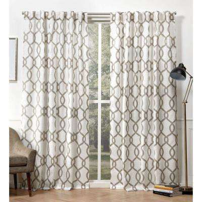 Kochi Natural  Room Darkening Hidden Tab Top Curtain Panel - 54 in. W x 108 in. L  (2-Panel)