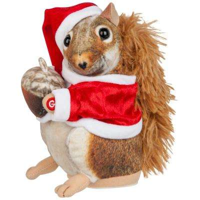10 in. Christmas Animated Plush Squirrel with Santa Hat