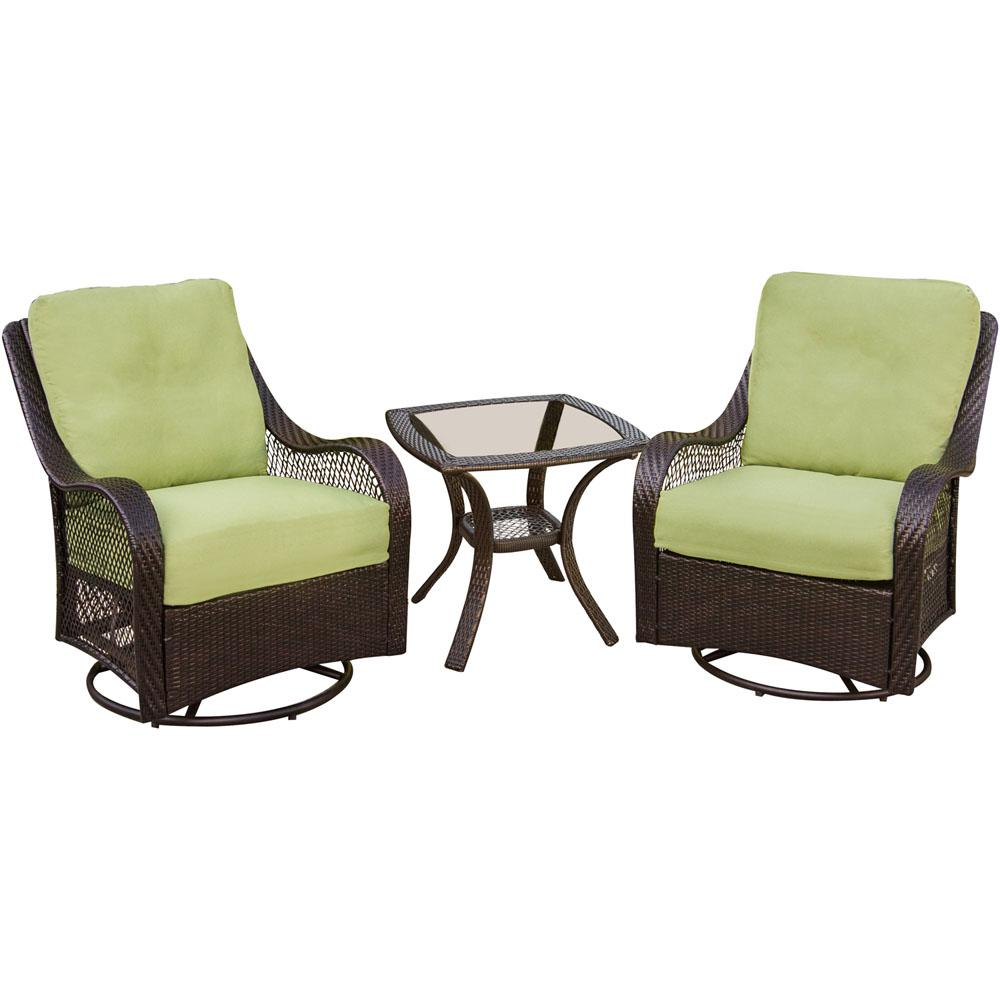 hanover orleans 3 piece patio lounge set with avocado green cushions orleans3pcsw the home depot. Black Bedroom Furniture Sets. Home Design Ideas