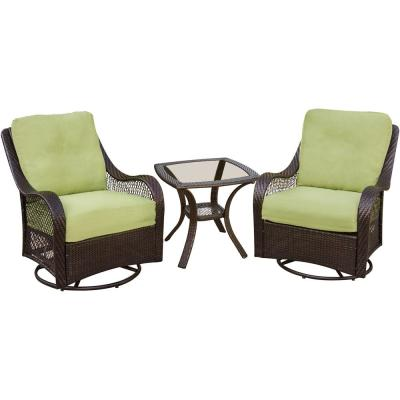 Orleans 3-Piece Patio Lounge Set with Avocado Green Cushions