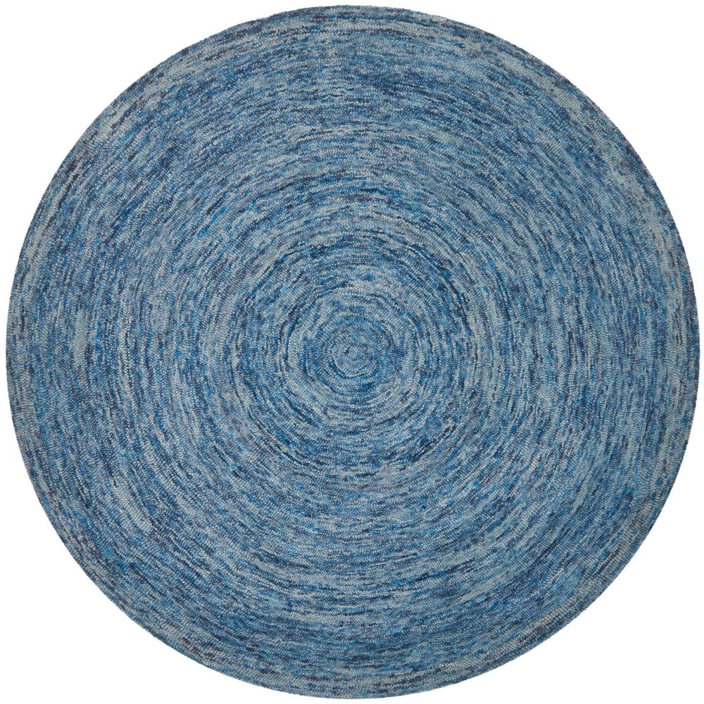 Ikat Dark Blue/Multi 6 ft. x 6 ft. Round Area Rug