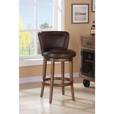 Lisbon 30 in. Kahlua Faux Leather and Chestnut Wood Finish Swivel Barstool