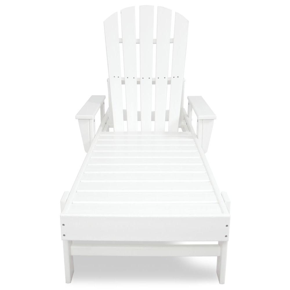 Polywood south beach white plastic outdoor patio chaise for Chaise longue jardin brico depot