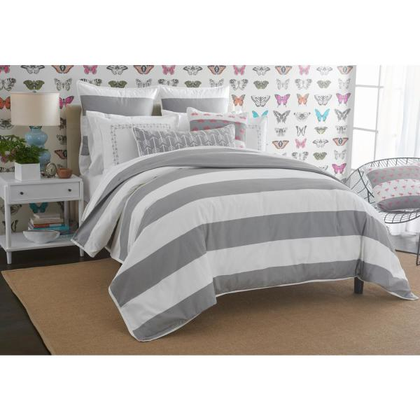 Delicieux Undefined Cabana Stripe White And Gray California King Duvet