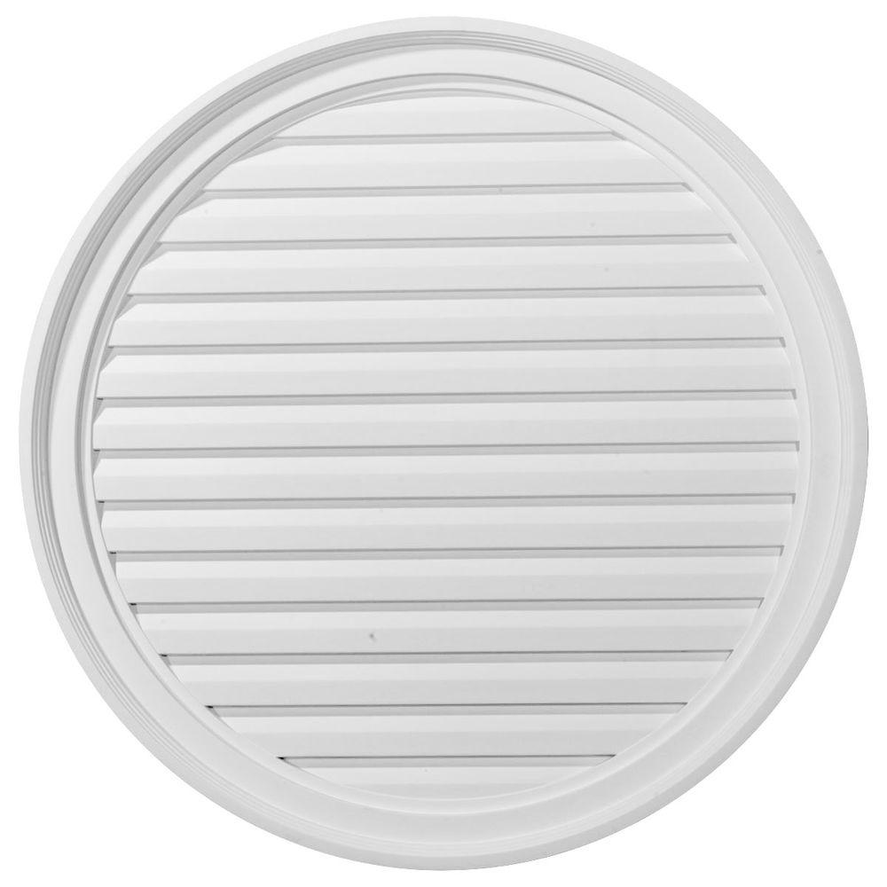 Ekena Millwork 2 in. x 30 in. x 30 in. Decorative Round Gable Louver Vent