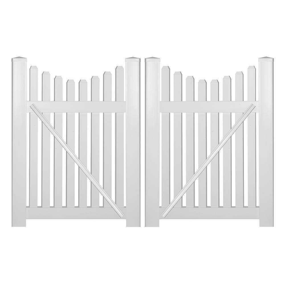 Richmond 8 ft. W x 4 ft. H White Vinyl Picket Fence Double Gate