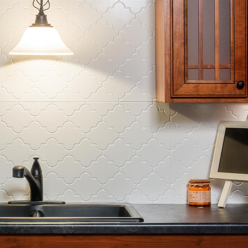 Monaco 18 in. x 24 in. Matte White Vinyl Decorative Wall Tile Backsplash 18 sq. ft. Kit
