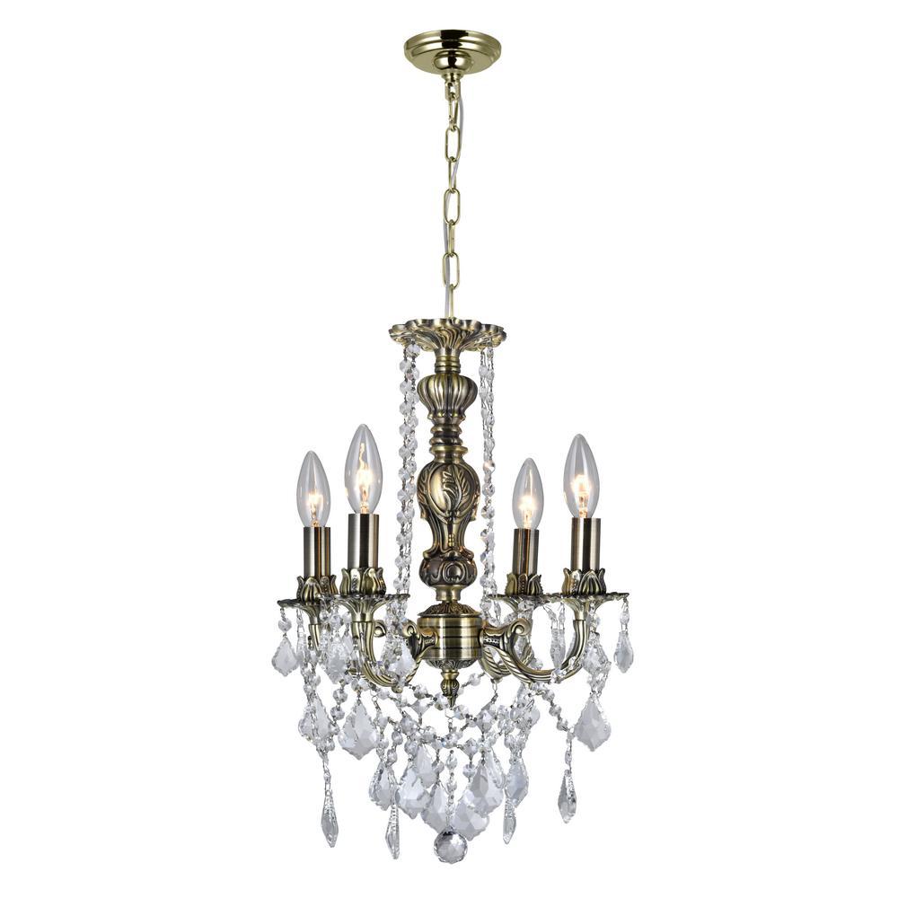 CWI Lighting Brass 4-Light Antique Brass Pendant