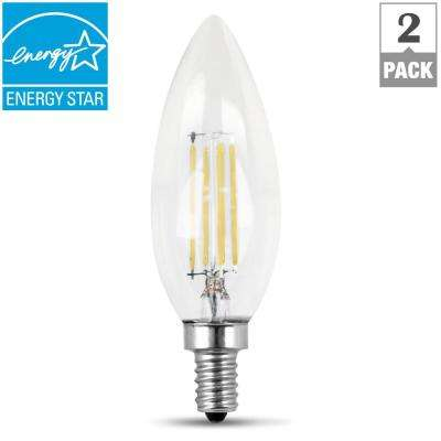 60W Equivalent Soft White (2700K) B10 Candelabra Dimmable Filament LED Clear Glass Light Bulb (2-Pack)