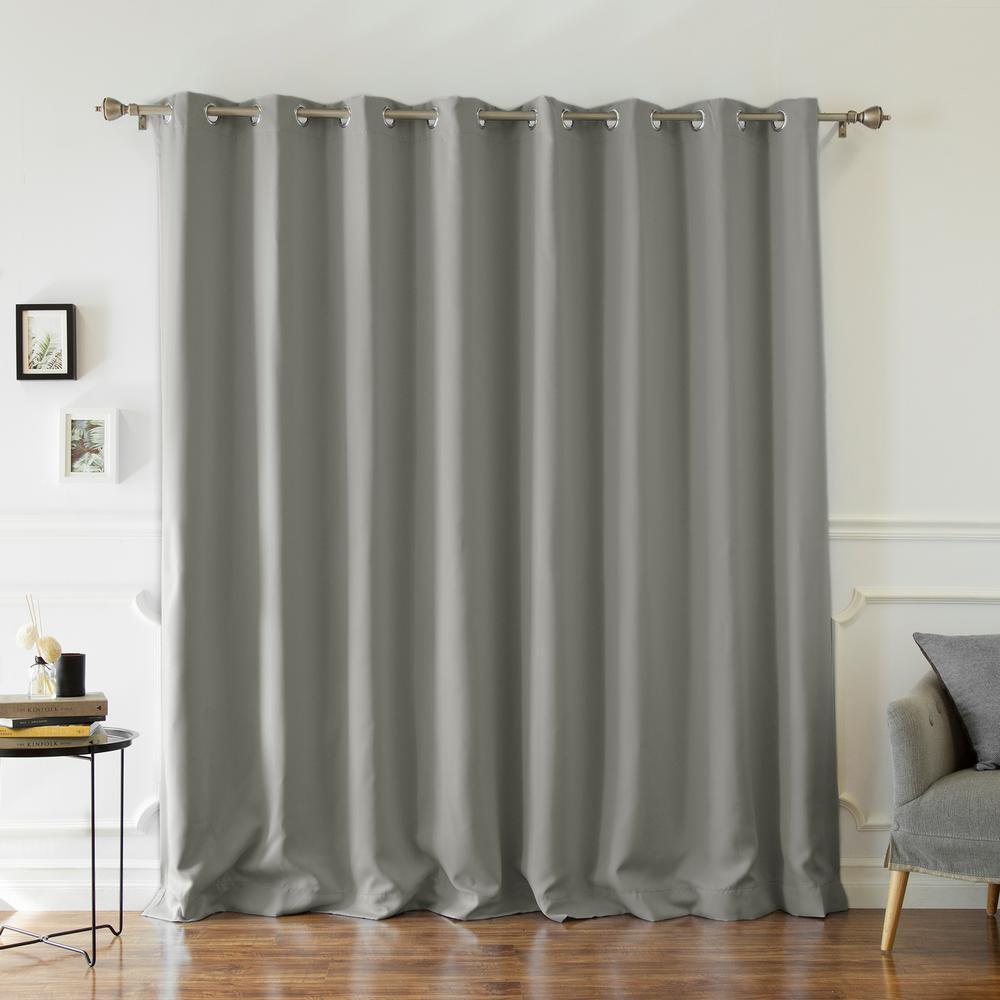 Wide Width Basic Silver 100 in W. x 96 in. L Grommet Blackout Curtain in Grey