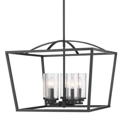 Mercer 5-Light Chandelier in Matte Black with Matte Black Accents and Seeded Glass