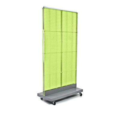 60 in. H x 32 in. W 2-Sided Double Pegboard Floor Display On Wheeled Base in Green