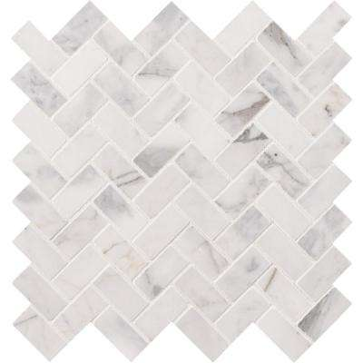 Backsplash Marble Herringbone Mosaic Tile Tile The Home Depot