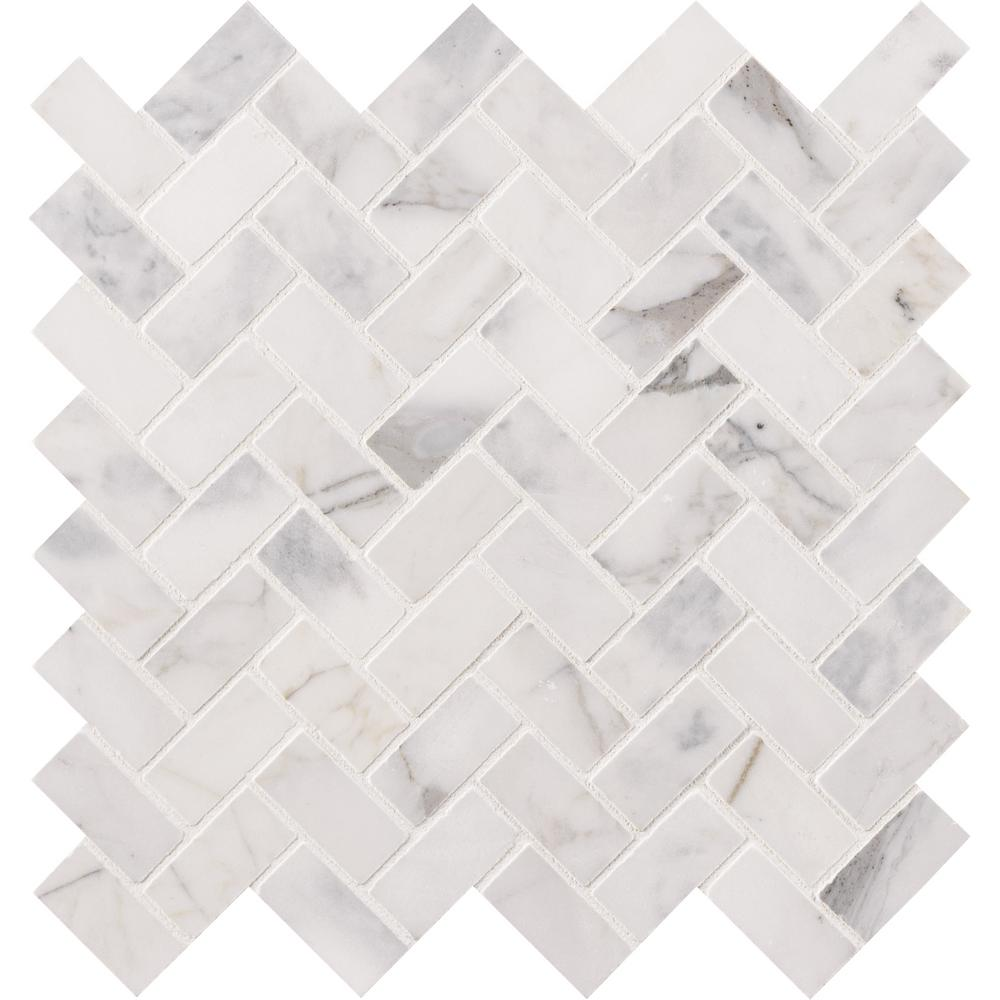Ms International Calacatta Cressa Herringbone 12 In X 12 In X 10 Mm Honed Marble Mesh Mounted