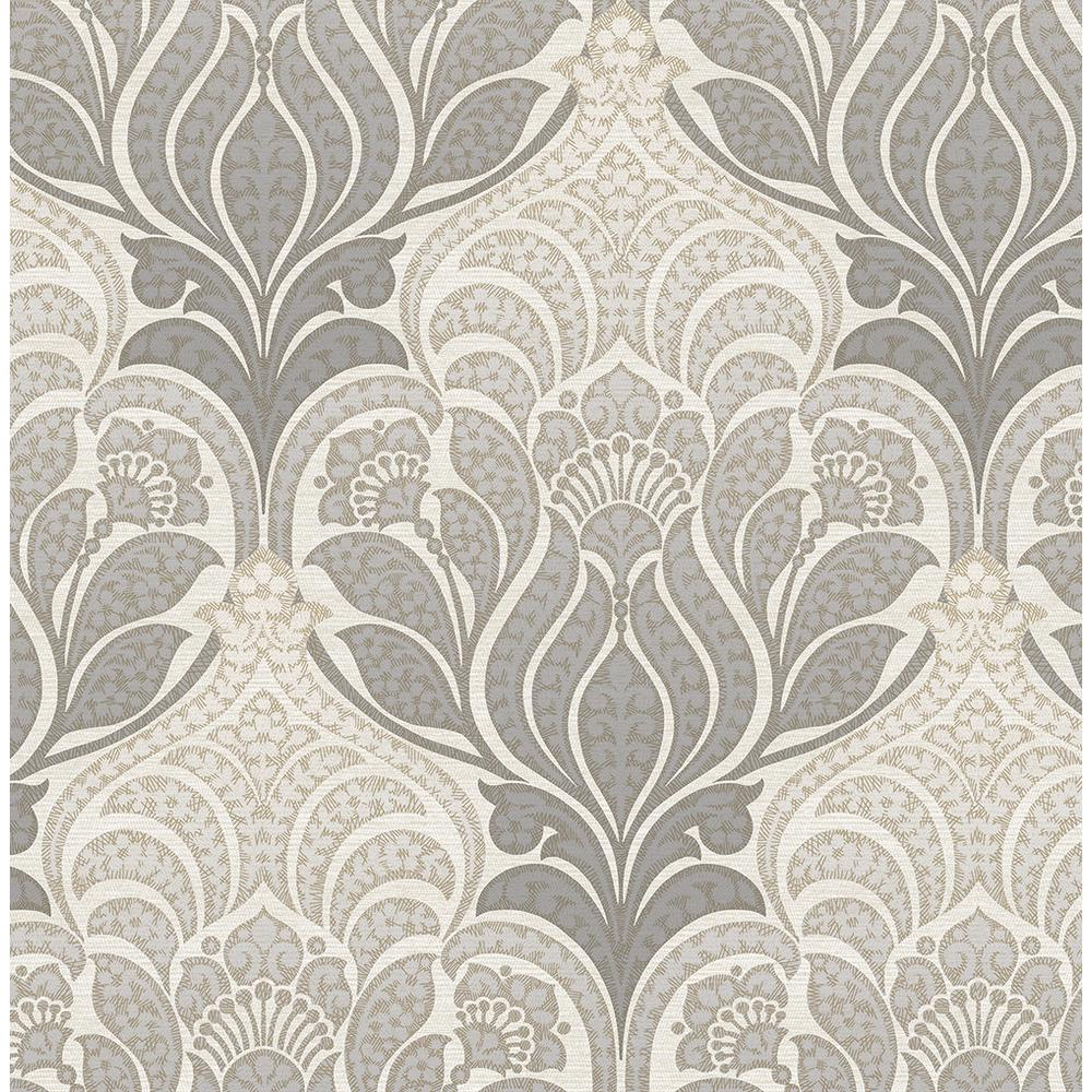 Kenneth James Twill Charcoal Damask Wallpaper 2671 22428